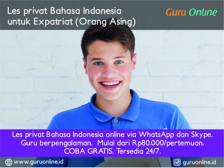 Les Bahasa Indonesia untuk expatriat orang asing online via WhatsApp Skype Zoom